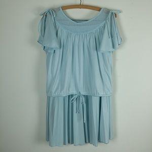 Vintage 70's Baby Blue 2 Piece Pleated Skirt Set